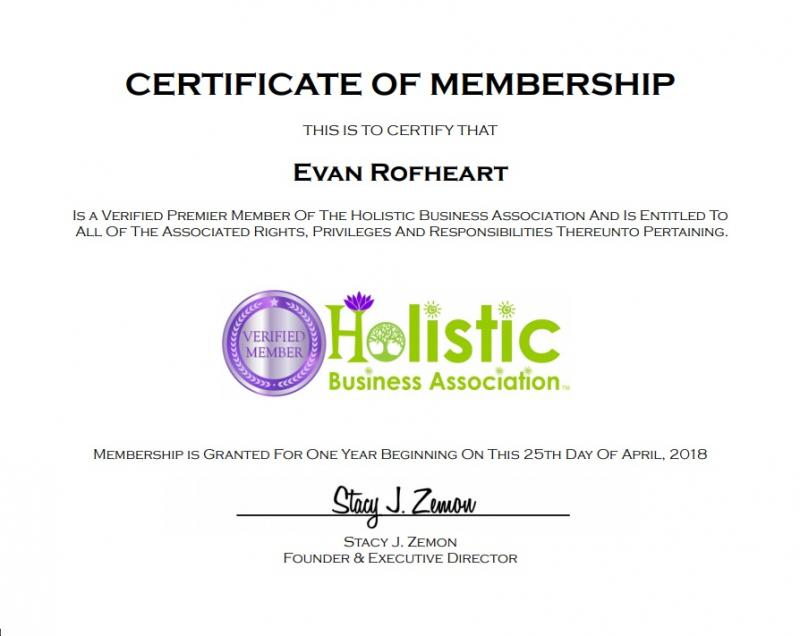 Holistic Business Association  Evan Rofheart  Membership Certificate
