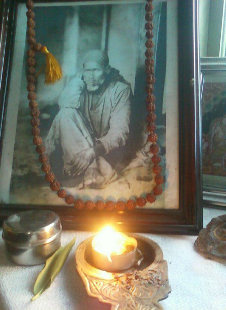 Shirdi Sai Baba with flame